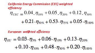 CEC and Euro Efficiency measures for solar inverters