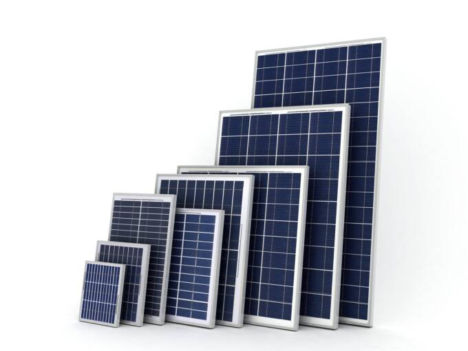Size and power of solar panels