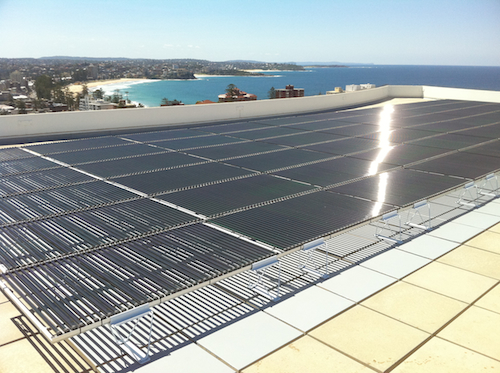 10kW tubular solar power installation on apartment rooftop in Manly Sydney Australia