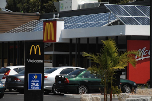 12kW commercial solar power installation on McDonald's restaurant in Kilsyth Victoria Australia